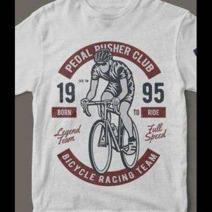 1995 PEDAL PUSHER Cycling Club T-Shirt Custom Rare Artwork Design High Quality DTG Print *S-4XL*