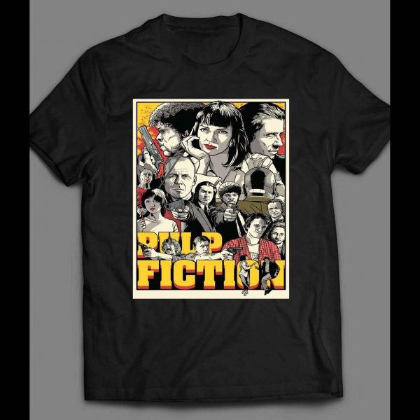 90s MOVIE PULP FICTION CUSTOM OLDSKOOL T-Shirt **FULL FRONT OF SHIRT ARTWORK*