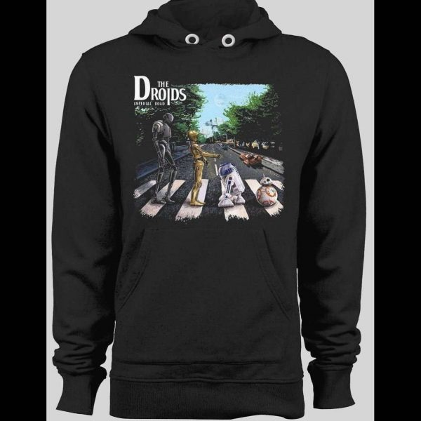 ABBEY ROAD DROIDS FROM STAR WARS MASH UP BLACK WINTER HOODIE