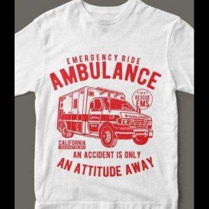AMBULANCE EMS Accident California T-Shirt Custom Rare Artwork Design High Quality DTG Print *S-4XL*