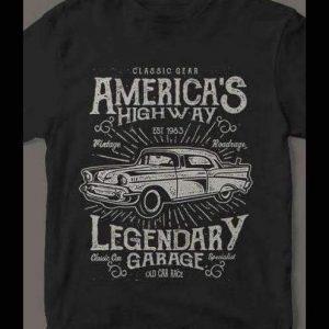American CLASSIC Cars Legendary Garage T-Shirt Custom Rare Artwork Design High Quality DTG Print *S-4XL*