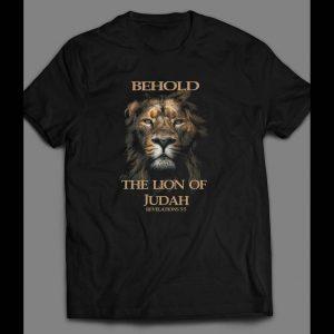 """CHRISTIAN LION ART """"BEHOLD THE LION OF JUDAH REVELATIONS 5:5 SHIRT"""