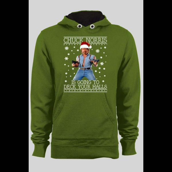 CHUCK NORRIS DECK YOUR HALLS CHRISTMAS PULL OVER HOODIE