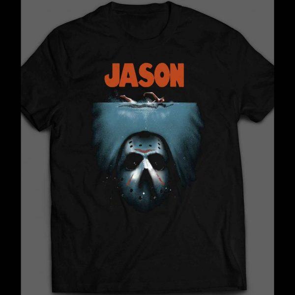 "FRIDAY THE 13TH'S ""JASON"" JAWS PARODY HALLOWEEN SHIRT"