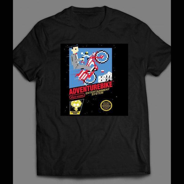 PEE WEE HERMAN 8-BIT ADVENTURE BIKE GAME BOX ART SHIRT