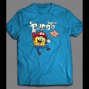 """SPONGE BOB SUPER SMASH BROS PARODY """"SUPER SPONGE BROS"""" SHIRT"""