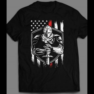MILITARY STYLE U.S.A. KNIGHT AMERICAN FLAG 4TH OF JULY SHIRT