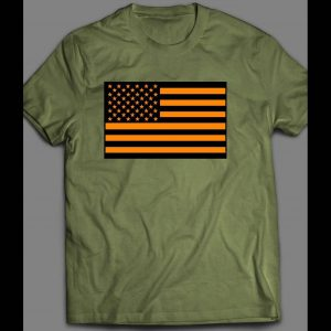 MILITARY STYLE ORANGE AMERICAN FLAG 4TH OF JULY SHIRT