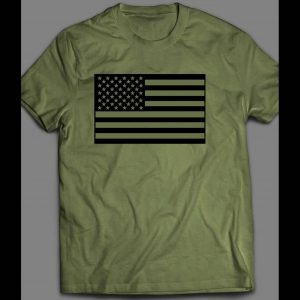 MILITARY STYLE MILITARY GREEN AMERICAN FLAG 4TH OF JULY SHIRT