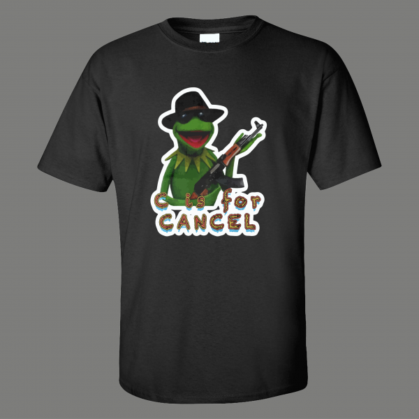 KERMIT WITH RIFLE C IS FOR CANCEL THIS PUPPET SHIRT* MANY COLORS